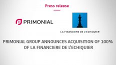 Primonial Group announces acquisition of 100% of La Financière de l'Echiquier